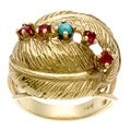14k Yellow Gold Ruby and Turquoise Palm Leaf Estate Ring