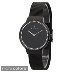 Fjord Women's 'Frida' Black Stainless Steel CZ Watch