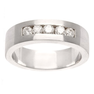 14k White Gold 3/4ct TDW Diamond 5-stone Estate Band (G-H, SI1-SI2)