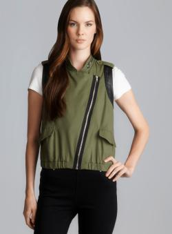 Romeo & Juliet Couture Olive Faux Leather Trim Moto Zip Vest