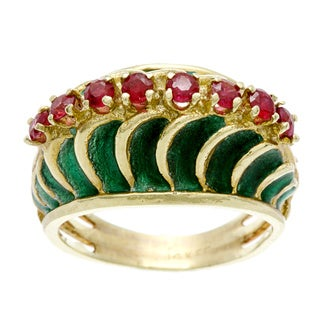 14k Yellow Gold Ruby and Green Enamel Estate Ring
