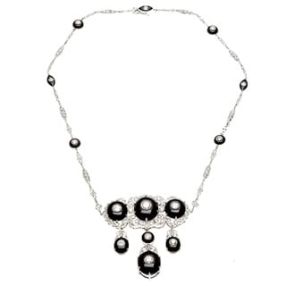14k White Gold Onyx and 8ct TDW Diamond Estate Necklace (H-I, SI1-SI2)