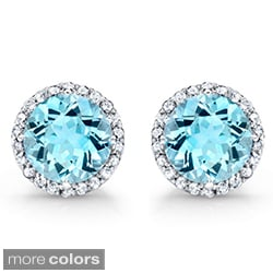 Round Gemstone and 5/8ct TDW Diamond Earrings (J-K, I2-I3)