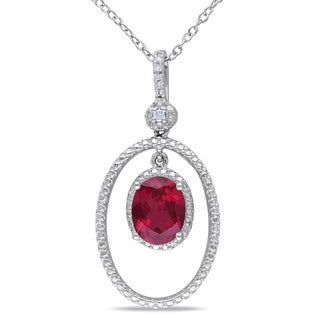 Miadora Sterling Silver Created Ruby and Diamond Necklace