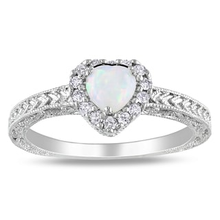 Miadora Sterling Silver Opal and 1/6ct TDW Diamond Heart Ring (H-I, I2-I3)