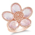 Miadora Rose-plated Silver Rose Quartz and Diamond Flower Ring