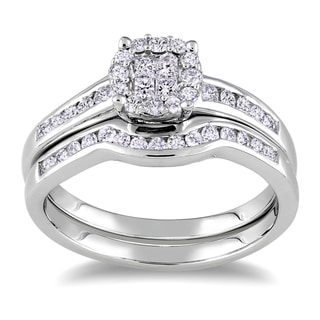 Miadora Sterling Silver 1/2ct TDW Diamond Bridal Ring Set (H-I, I2-I3) with Bonus Earrings