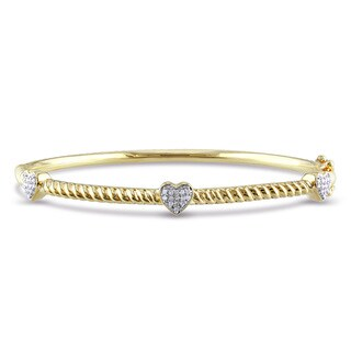 Miadora Yellow-plated Silver 1/8ct TDW Diamond Heart Bangle (H-I, I2-I3)