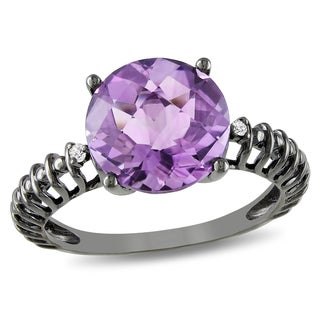 Miadora 10k White Gold 3 3/4ct TGW Amethyst and Diamond Ring