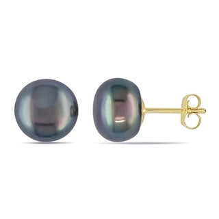 M by Miadora 10k Yellow Gold Black Pearl Stud Earrings (9-10 mm)