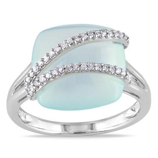 Miadora 14k Gold Blue Chalcedony and 1/8ct TDW Diamond Ring (G-H, I1-I2)