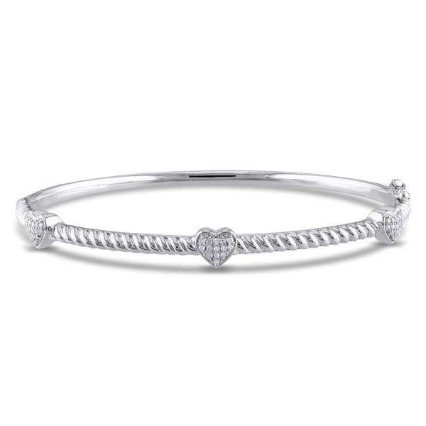 Haylee Jewels Sterling Silver 1/8ct TDW Diamond Bangle (H-I, I2-I3)
