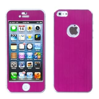 BasAcc Hot Pink/ Brushed Metal Shield Case for Apple iPhone 5