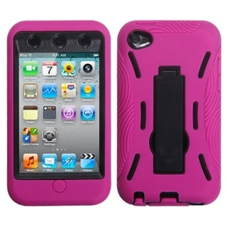 BasAcc Black/ Hot Pink Symbiosis Stand Case for Apple iPod Touch 4