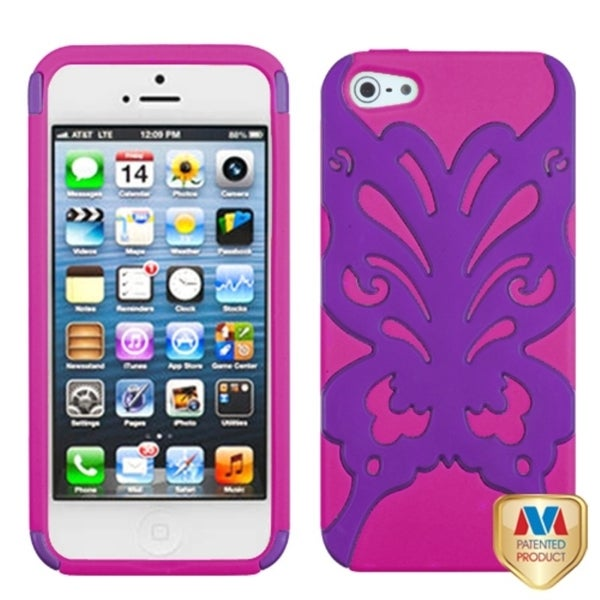 INSTEN Grape/ Hot Pink/ Butterflykiss Hybrid Phone Case Cover for Apple iPhone 5