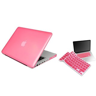 BasAcc Clear Pink Case/ Keyboard Skin for Apple Macbook Pro 13-inch