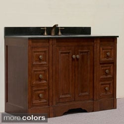 Natural Granite Top 48 inch Single Sink Traditional Style Bathroom Vanity in Light Walnut Finish