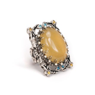 Sweet Romance Silvertone Butterscotch Glass Ring