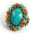 Sweet Romance Bronzetone Turquoise Glass and Bead Oval Ring