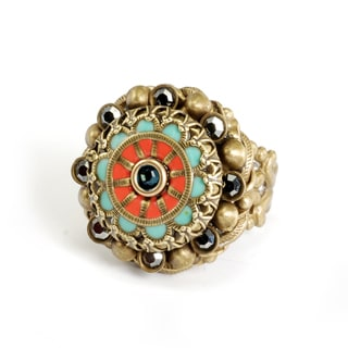 Sweet Romance Southwest Coral and Turquoise Enamel Rosette Ring