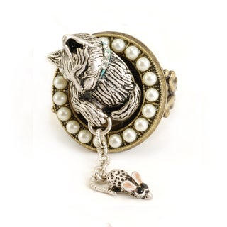 Sweet Romance Two-tone Cat and Mouse Charm Ring