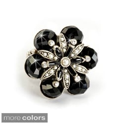 Sweet Romance Silvertone Black Crystal Faceted Flower Ring