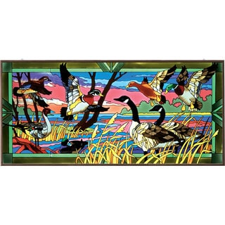 Joan Baker Wild Ducks Art Panel Stained Glass