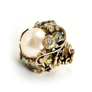 Sweet Romance Bronzetone Faux Pearl Flower Ring