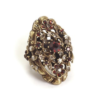 Sweet Romance Garnet Red Floral Victorian Ring