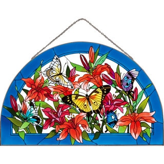 Joan Baker Butterflies/Lilies Art Panel Stained Glass