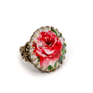 Sweet Romance Bronzetone Red Rose Lithograph Ring