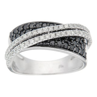 D'sire Sterling Silver 1 1/5ct TDW Black and White Diamond Ring (I, SI1-SI2)