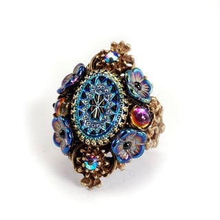 Sweet Romance Vintage Peacock Glass Pinwheel Ring