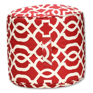 Pillow Perfect Geo Red Outdoor/ Indoor Bean Bag Ottoman