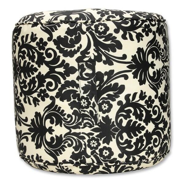Pillow Perfect Essence Black Outdoor/ Indoor Bean Bag Ottoman