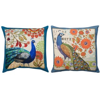Peacock Printed 18-inch Decorative Pillows (Set of 2)
