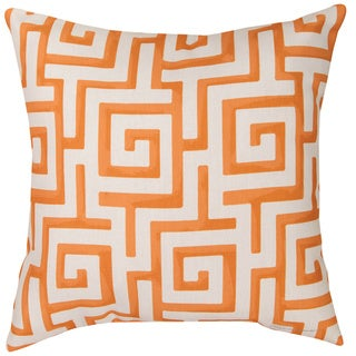Orange Greek Key 18-inch Reversible Decorative Pillows (Set of 2)
