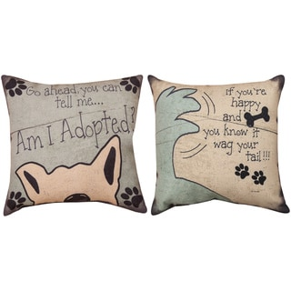 Pet-themed Reversible 12-inch Decorative Pillows (Set of 2)