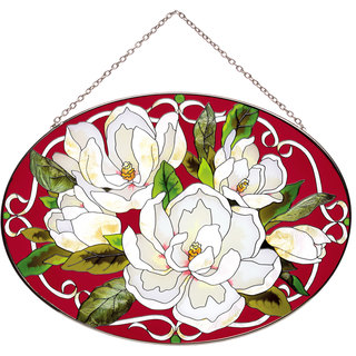 Joan Baker Magnolias Glass Art Panel