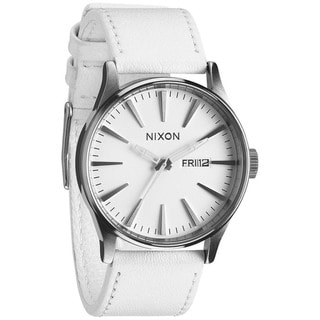 Nixon Men's Sentry A105391-00 White Leather Quartz Watch with White Dial