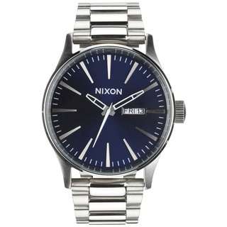 Nixon Men's A3561258 Silver Stainless-Steel Quartz Watch with Blue Dial