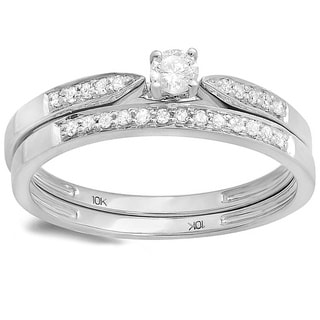 10k White Gold 1/4ct TDW Diamond Bridal Ring Set (H-I, I1-I2)