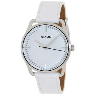 Nixon Men's A129391-00 White Leather Quartz Watch with White Dial