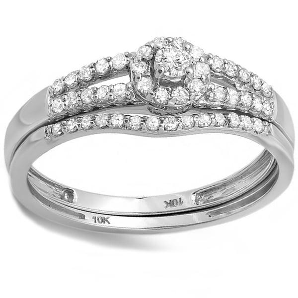 10k White or Yellow Gold 2/5ct TDW Diamond Halo Bridal Ring Set (H-I, I1-I2)