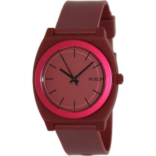Nixon Men's Time Teller A1191298-00 Red Rubber Quartz Watch with Red Dial