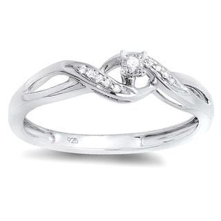 Sterling Silver Round-cut Diamond Accents Twist Promise Ring