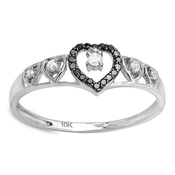10K White Gold 1/5ct TDW Black Diamond Wave Heart Ring