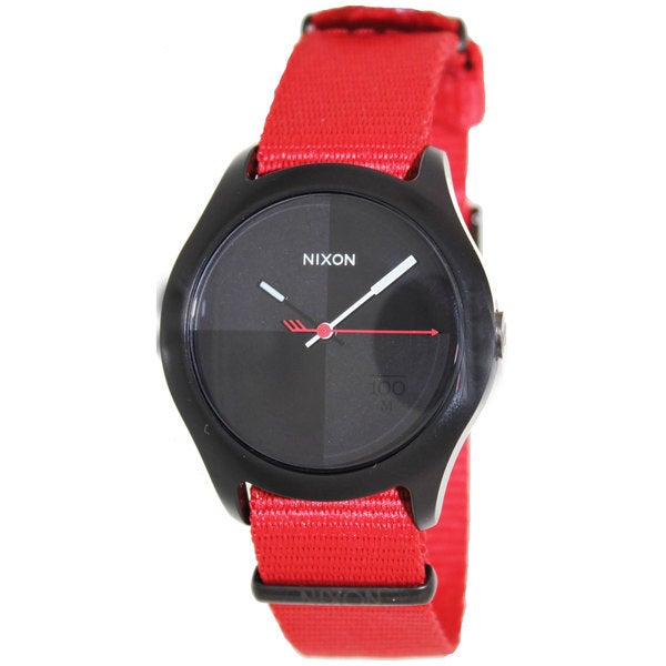 Nixon Men's Quad A344213-00 Two-Tone Nylon Quartz Watch with Black Dial