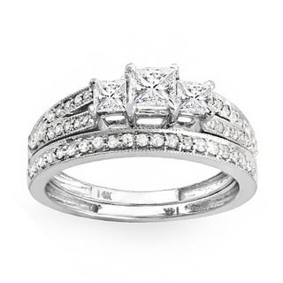 14k White Gold 1ct TDW 3-Stone Diamond Bridal Ring Set (H-I, I1-I2)