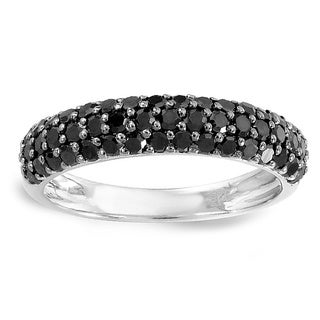 Sterling Silver 1ct TDW Black Diamond Pave Wedding Band